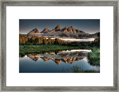 Hazy Reflections At Scwabacher Landing Framed Print by Ryan Smith