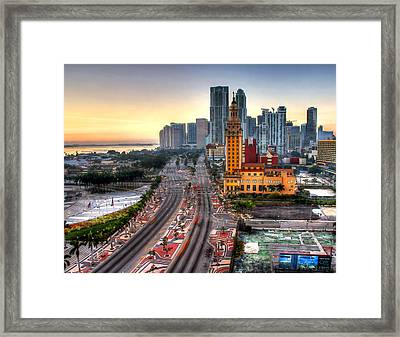 Hdr Miami Downtown Sunrise Framed Print by Joe Myeress