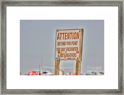 Hdr Sunbather Sign Beach Beaches Ocean Sea Photos Pictures Buy Sell Selling New Photography Pics  Framed Print by Pictures HDR