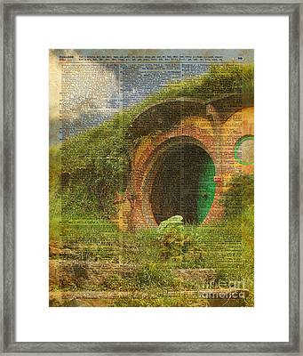 he Bag End Hobbit House Lord of the Rings Shire Illustration Dictionary Art Framed Print by Jacob Kuch