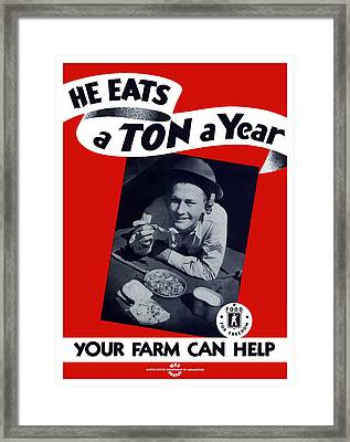 He Eats A Ton A Year Framed Print by War Is Hell Store