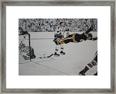 He Scores Framed Print by Betty-Anne McDonald