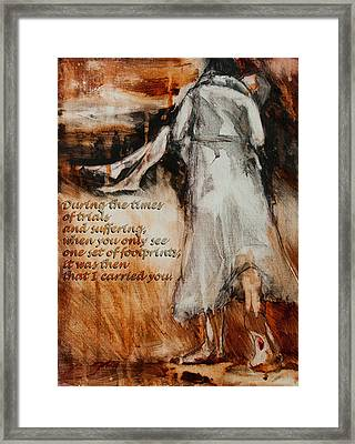 He Walks With Me - Footprints 2 Framed Print by Jani Freimann