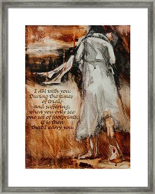 I Am With You - Footprints Framed Print by Jani Freimann