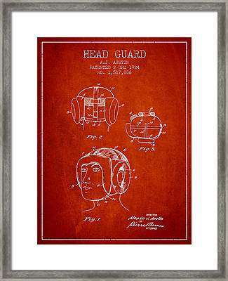 Head Guard Patent From 1924 - Red Framed Print by Aged Pixel