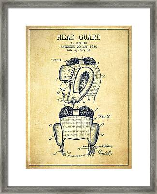 Head Guard Patent From 1930 - Vintage Framed Print by Aged Pixel