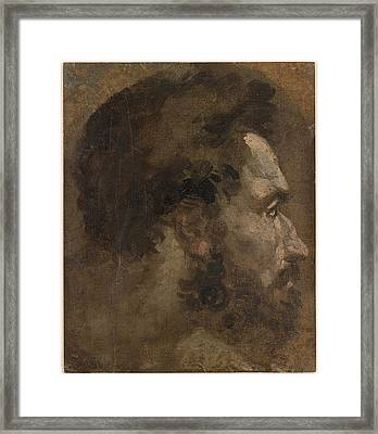 Head Of A Bearded Man In Profile To The Right  Framed Print by Celestial Images