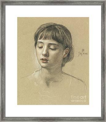 Head Of A Girl, 1883 Framed Print by Edward John Poynter