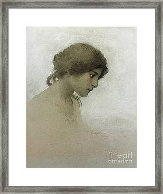 Head Of A Girl  Framed Print by Franz Dvorak