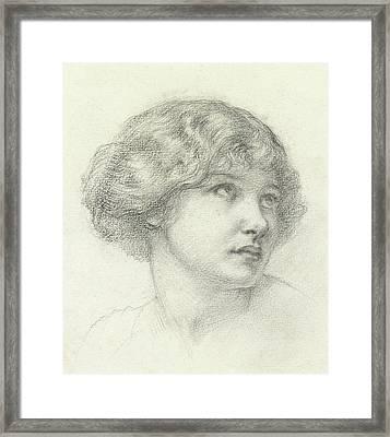 Head Of A Girl  Framed Print by Walter John Knewstub