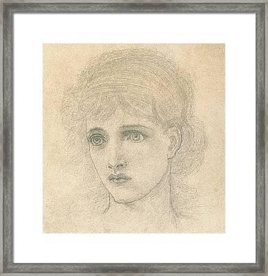 Head Of A Woman Framed Print by John Melhuish Strudwick
