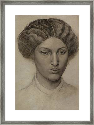 Head Of A Young Woman Framed Print by Dante Gabriel Rossetti
