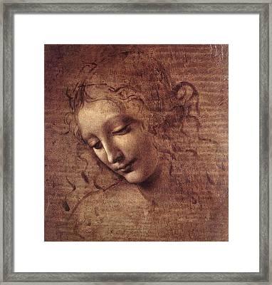 Head Of A Young Woman With Tousled Hair, Leda Framed Print by Leonardo da Vinci