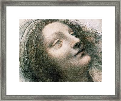 Head Of Virgin Framed Print by Leonardo Da Vinci