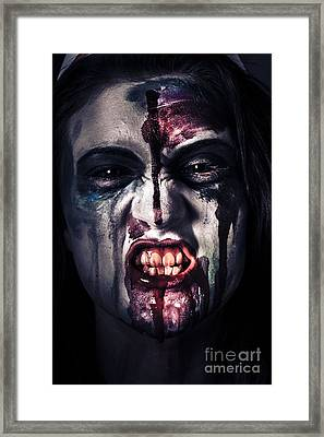 Head Shot On A Pure Evil Zombie Girl Framed Print by Jorgo Photography - Wall Art Gallery