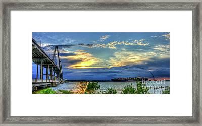 Headed Out To Sea The Arthur Ravenel Jr Bridge  Charleston Harbor South Carolina Framed Print by Reid Callaway
