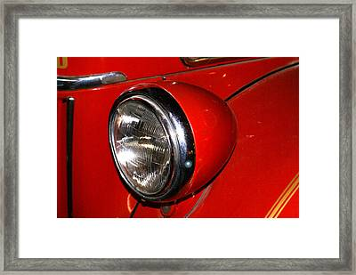 Headlamp On Antique Fire Engine Framed Print by Douglas Barnett