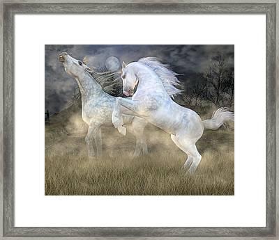 Headless Horseman Haunting On The Hill Framed Print by Betsy Knapp