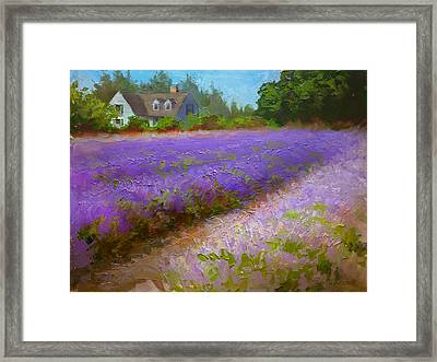 Impressionistic Lavender Field Landscape Plein Air Painting Framed Print by Karen Whitworth