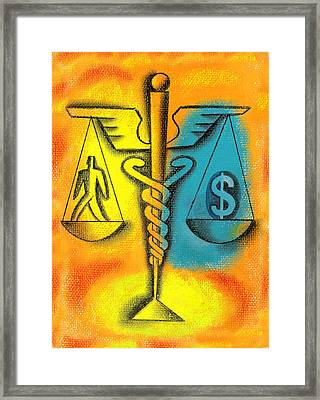 Healthcare Cost Framed Print by Leon Zernitsky