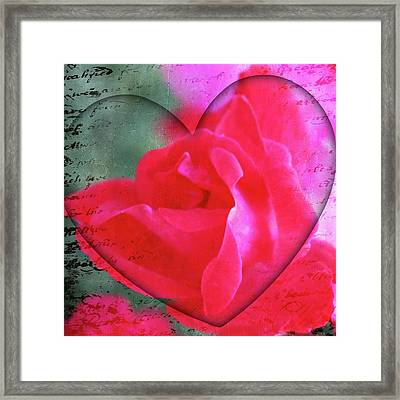 Heart And Rose Framed Print by Cathie Tyler