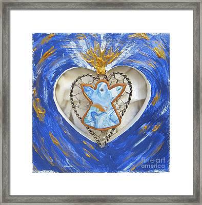 Heart Angel Sparkling Framed Print by Heidi Sieber