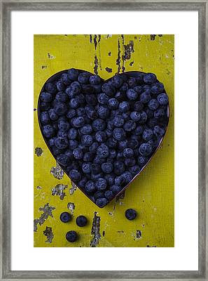 Heart Box With Blueberries Framed Print by Garry Gay