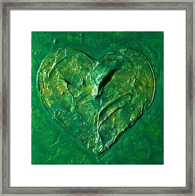 Heart Chakra Painting Green Chakra Art Framed Print by Chakra Art