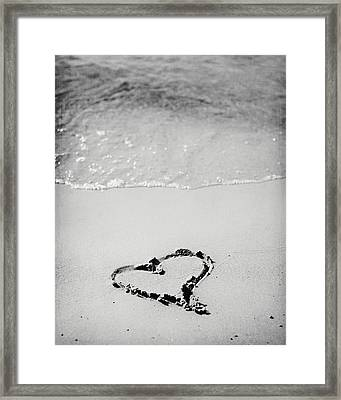 Heart In Sand In Black And White Framed Print by Lisa Russo