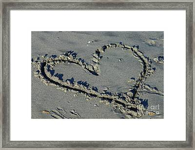 Heart In The Sand Framed Print by Jennifer White