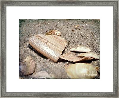 Heart In Sand Framed Print featuring the photograph Heart In The Sand by Kerri Farley