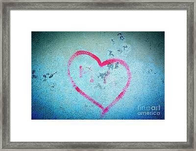 Heart Shape On A Wall Framed Print by Bernard Jaubert