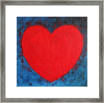 Heart Shape Symbol Bright Red On Blue Abstract Background Valentine Gift Framed Print by Jozef Klopacka