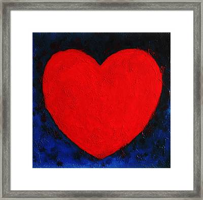 Heart Shape Symbol Simple Clear Briheart Shape Symbol Bright Red On Blue Abstract  Valentin Gift Framed Print by Jozef Klopacka