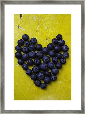 Heart Shaped Blueberries Framed Print by Garry Gay