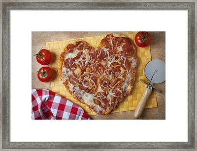 Heart Shaped Pizza Framed Print by Garry Gay