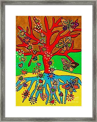 Hearts Grow Into Butterflies Framed Print by Sandra Silberzweig