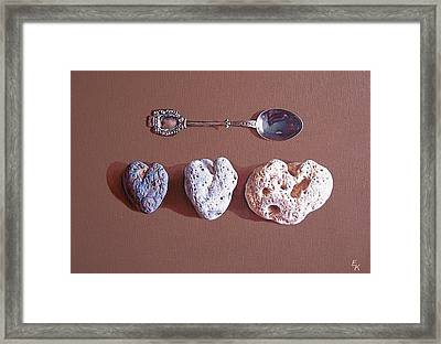 Hearts Of Three Framed Print by Elena Kolotusha