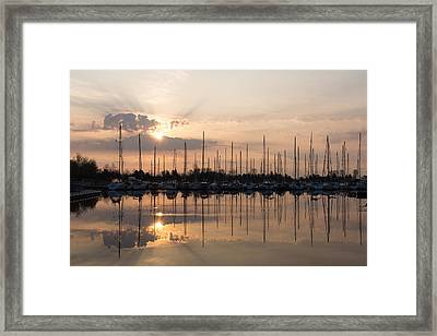 Heavenly Sunrays - Peaches-and-cream Sunrise With Boats Framed Print by Georgia Mizuleva