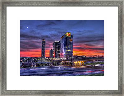 Heavens Ablaze Atlantic Station Banking Framed Print by Reid Callaway