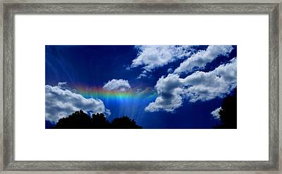 Heavens Rainbow Framed Print by Linda Sannuti