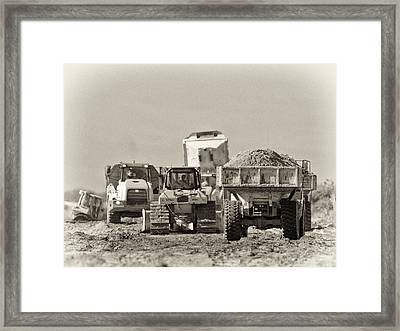 Heavy Equipment Meeting Framed Print by Patrick M Lynch