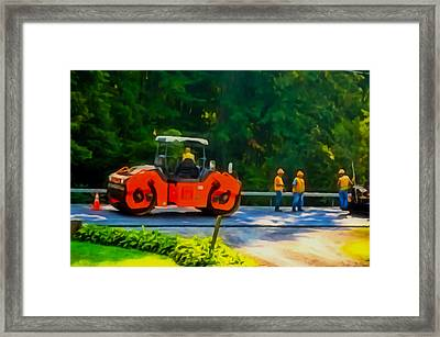 Heavy Tandem Vibration Roller Compactor At Asphalt Pavement Works For Road Repairing 2 Framed Print by Lanjee Chee