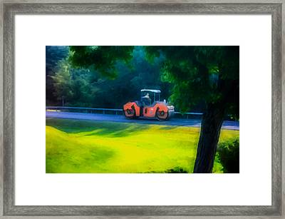 Heavy Tandem Vibration Roller Compactor At Asphalt Pavement Works For Road Repairing3 Framed Print by Lanjee Chee