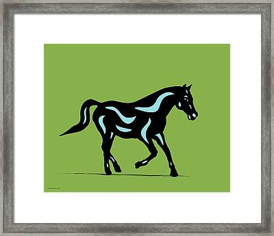Heinrich - Pop Art Horse - Black, Island Paradise Blue, Greenery Framed Print by Manuel Sueess