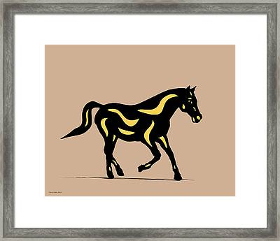 Heinrich - Pop Art Horse - Black, Primrose Yellow, Hazelnut Framed Print by Manuel Sueess