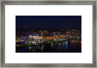 Heinz Field At Night From Mt Washington Framed Print by Lori Coleman