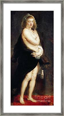 Helena Fourment In A Fur Wrap Framed Print by Rubens