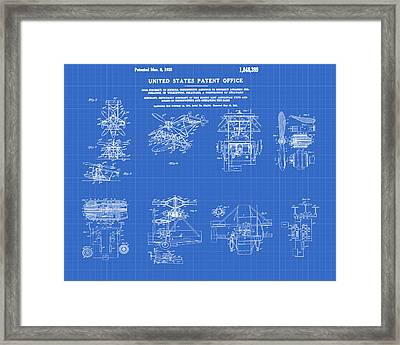 Helicoptor Patent 1932 Red Blueprint Framed Print by Bill Cannon