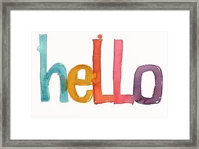 Hello Lettering Framed Print by Gillham Studios